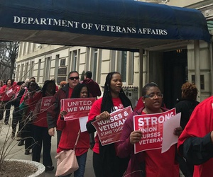 Nurses rallied at VA headquarters March 15 to protest the Trump administration's approach to veterans' care.