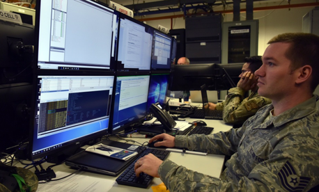 Tech. Sgt. Noe Kaur, a cyber-defense supervisor with the 1st Combat Communications Squadron, uses advanced techniques to launch cyber-attacks to the training audience as part of exercise TACET VENARI, held at Ramstein Air Base, Germany, Mar. 8, 2019.