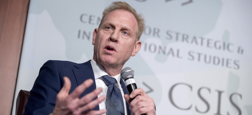 Acting Defense Secretary Patrick Shanahan speaks at the Center for Strategic and International Studies in Washington, Wednesday, March 20, 2019.