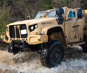 A Joint Light Tactical Vehicle displays its overall capabilities during a live demonstration at the School of Infantry West, Marine Corps Base Camp Pendleton, California, Feb. 27, 2019.