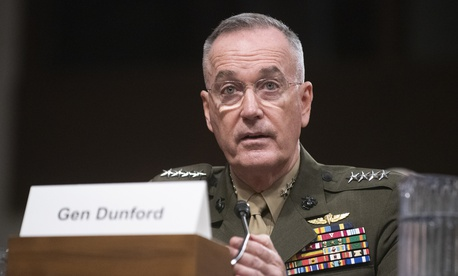Marine Corps Gen. Joe Dunford, chairman of the Joint Chiefs of Staff, give testimony on the Department of Defense budget posture in the Dirksen Senate Office Building, March 14, 2019.