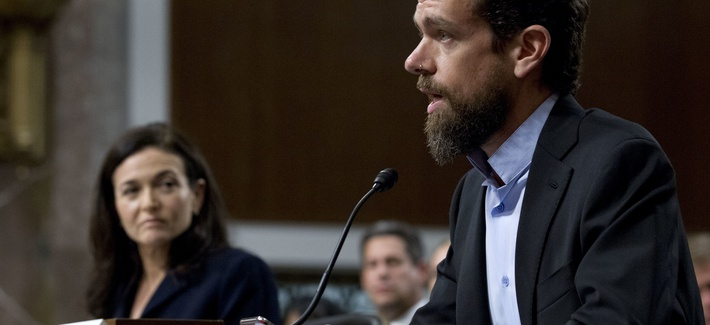 Twitter CEO Jack Dorsey and Facebook COO Sheryl Sandberg testify before the Senate on 'Foreign Influence Operations and Their Use of Social Media Platforms' on Sept. 5, 2018.