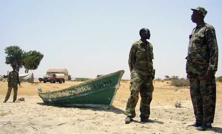 In this Monday March 28, 2011 photo, Somaliland coast guards, in Milaxaar.