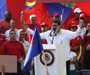 President Nicolas Maduro as he speaks during an anti-imperialist rally for peace in Caracas, Venezuela, Saturday, March 23, 2019.