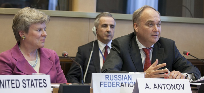 Rose Gottemoeller, then Acting Under Secretary for Arms Control and International Security, joined Anatoly Antonov, then Deputy Minister of Defense of the Russian Federation, in a side event at the 2013 NPT Prepcom in Geneva.