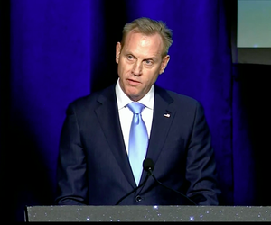 Acting Defense Secretary Patrick Shanahan speaks at the 35th Space Symposium.