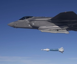 Lt. Col. George Watkins, the 34th Fighter Squadron commander, drops a GBU-12 laser-guided bomb from an F-35A Lightning II at the Utah Test and Training Range Feb. 25, 2016.