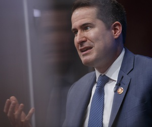 Rep. Seth Moulton, D-Mass., speaks at the Brookings Institution in Washington, Tuesday, Feb. 12, 2019, about his vision for the future of U.S. foreign policy.