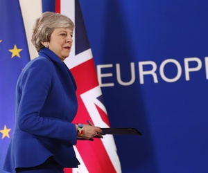 British Prime Minister Theresa May arrives for a media conference at the conclusion of an EU summit in Brussels, Thursday, April 11, 2019.