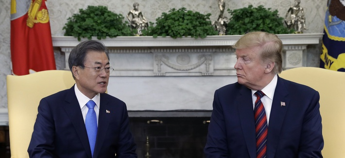 President Donald Trump meets with South Korean President Moon Jae-in in the Oval Office of the White House, Thursday, April 11, 2019, in Washington.