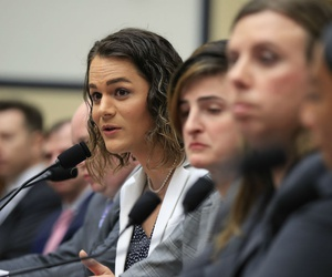 Army Capt. Alivia Stehlik, fourth from right, together with other transgender military members testify about their service before a House Armed Services Subcommittee on Military Personnel on Feb. 27.