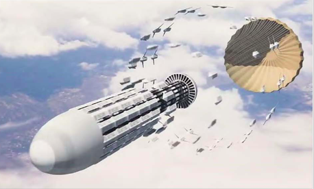 An Artist rendering of a next-generation drone swarm from the Air Force 2030 Science and Technology Strategy.