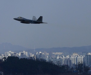 A U.S. Air Force F-22 Raptor from Kadena Air Base, Japan, conducted a flyover in the vicinity of Osan Air Base, South Korea, in response to recent provocative action by North Korea in 2016.