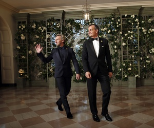 Pascal Blondeau, left, and Gérard Araud, Ambassador of France to the United States, arrive for a State Dinner with French President Emmanuel Macron and President Donald Trump at the White House, Tuesday, April 24, 2018, in Washington.
