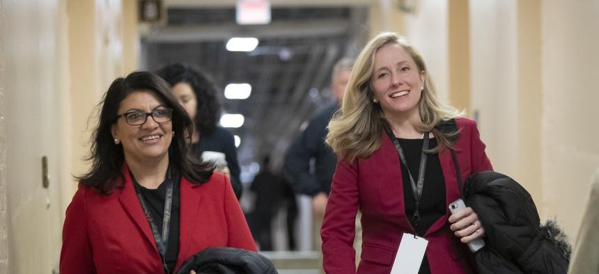 Rep. Rashida Tlaib, D-Mich., left, and Rep.Abigail Spanberger, D-Va., are two new national-security-focused legislators.