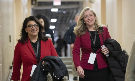 Rep. Rashida Tlaib, D-Mich., left, and Rep.Abigail Spanberger, D-Va., are two new national-security-focused legislators.
