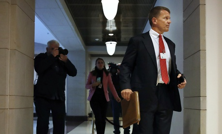 Blackwater founder Erik Prince arrives for a November 2017 meeting with the House Intelligence Committee on Capitol Hill in Washington.