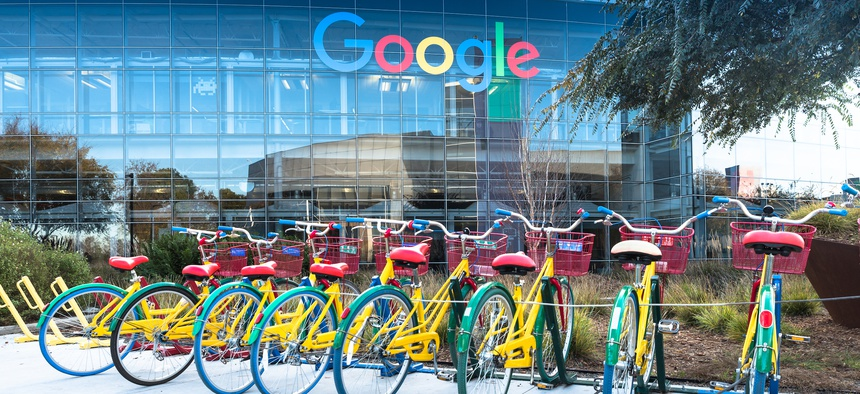 Shared bicycles outside a building on Google's main campus in Mountain View, California.
