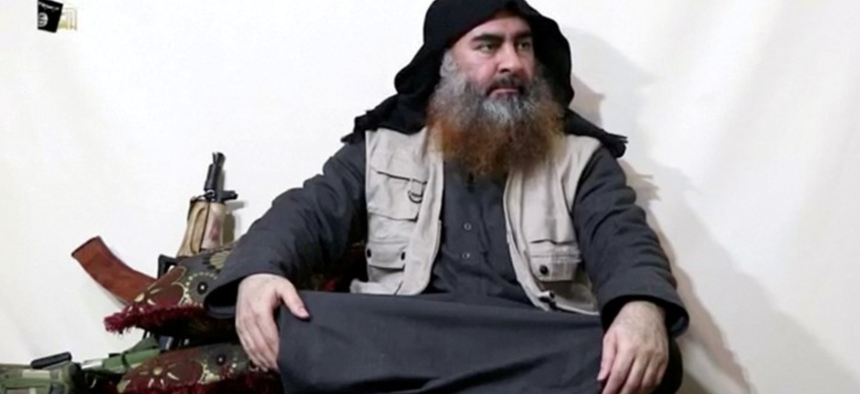 The man assumed to be Abu Bakr al-Baghdadi appears in a video released on April 29, 2019.