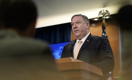 Secretary of State Mike Pompeo speaks during a news conference on Monday, April 22, 2019, at the Department of State in Washington.