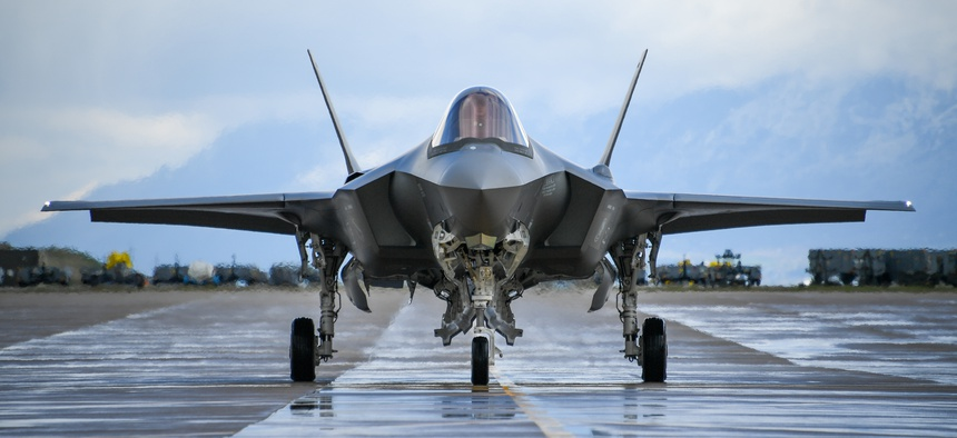 An F-35A taxis during a combat exercise at Hill Air Force Base, Utah, on May 1.
