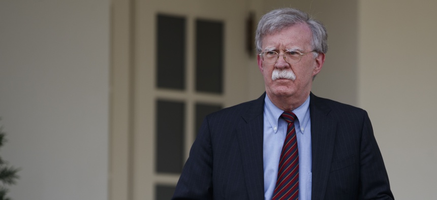 John Bolton, Trump's national security advisor, at the White House on Apr. 30, 2019. Bolton announced via email later that week a US aircraft carrier, ships and bombers would shift toward Iran, sparking fears of conflict.