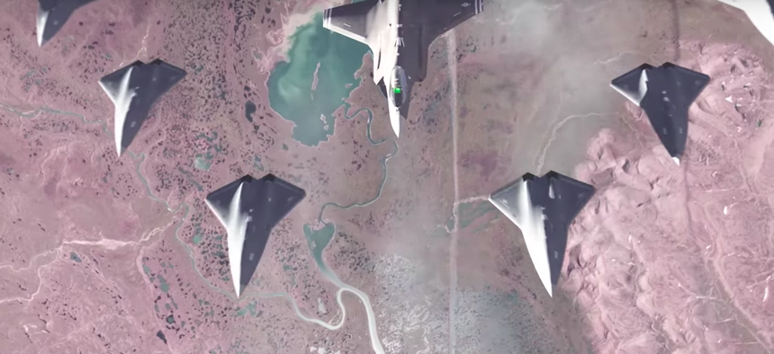 A still from an Air Force Research Lab video depicting the Loyal Wingman program, an F-35 surrounded by intelligent air combat drones.