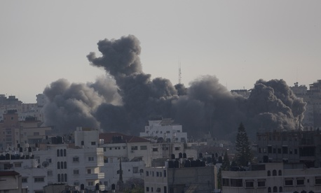 Smoke rises from an explosion after an Israeli airstrike in Gaza City, Sunday, May 5, 2019.