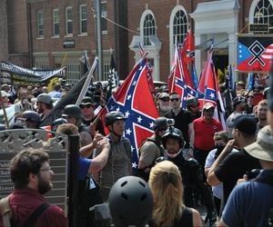 White nationalists and counter protesters clash in during a rally that turned violent resulting in the death of one and multiple injuries in 2017 in Charlottesville, Va..