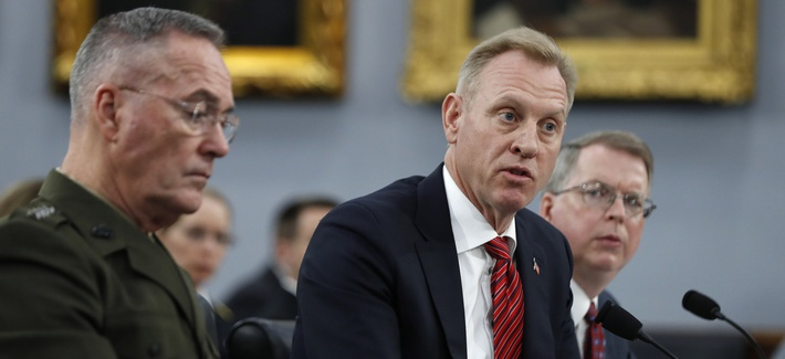 Joint Chiefs of Staff Chairman Gen. Joseph Dunford, left, Acting Defense Secretary Patrick Shanahan, and Acting Deputy Secretary of Defense David Norquist, testify to Congress on May 1, 2019.