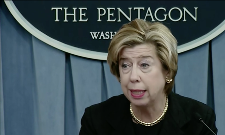 Ellen M. Lord, undersecretary of defense for acquisition and sustainment, conducts a news conference in the Pentagon Briefing Room, with an update on the department's acquisition reforms and major programs, May 9, 2019.