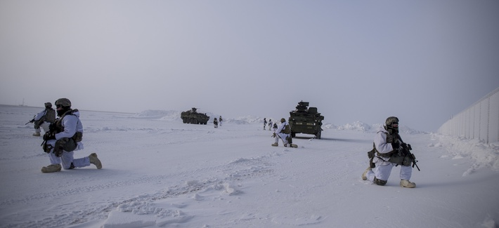 U.S. soldiers provide overwatch during an arctic deployment of Stryker armored vehicles as part of the U.S. Army Alaska-led exercise Arctic Edge 18 at Eleison Air Force Base, Alaska, March 13, 2018.