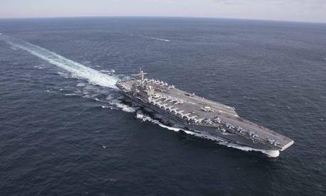A January photo of the aircraft carrier USS Abraham Lincoln, now in the Persian Gulf.