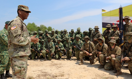 Maj. Gen. Timothy McKeithen, the deputy commanding general-National Guard, USARPAC, provides closing remarks to Exercise Pahlawan Warrior participants at Penanjong Garrison, Brunei, 14 Aug. 2018.