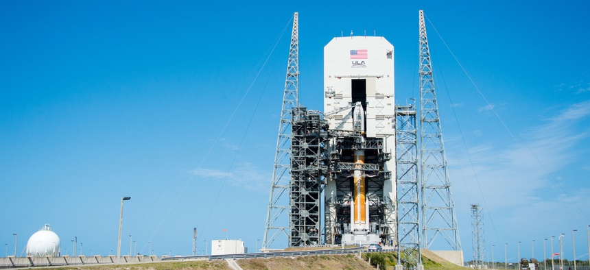 A United Launch Alliance Delta IV rocket at Cape Canaveral Air Force Station.