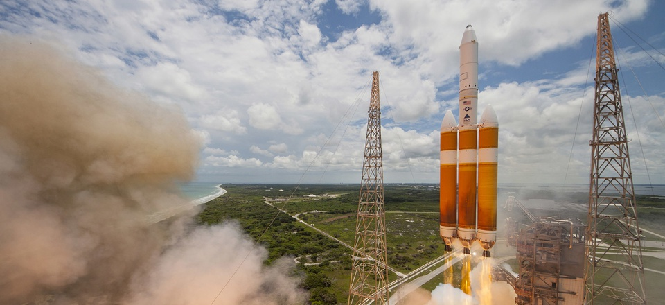 A United Launch Alliance Delta IV-Heavy rocket lifts off from Space Launch Complex 37B at Cape Canaveral Air Force Station, Florida.