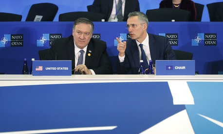 NATO's Secretary General Jen Stoltenberg, right, with Secretary of State Mike Pompeo, left, at the Meeting of the North Atlantic Council in Foreign Ministers' Session 2 at the U.S. State Department in Washington, Thursday, April 4, 2019.