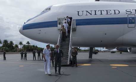 U.S. Acting Secretary of Defense Patrick M. Shanahan is greeted by the commander of U.S. Indo-Pacific Command, Navy Adm. Philip S. Davidson, upon arrival at Joint Base Pearl Harbor-Hickam, Hawaii, May 28, 2019.