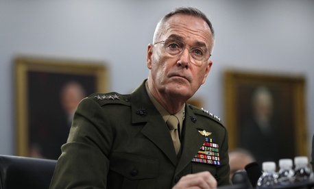 Joint Chiefs of Staff Chairman Gen. Joseph Dunford listens, Wednesday May 1, 2019, during a House Appropriations subcommittee on budget hearing on Capitol Hill in Washington.