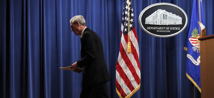 Special counsel Robert Mueller walks from the podium after speaking at the Department of Justice Wednesday, May 29, 2019, in Washington, about the Russia investigation.