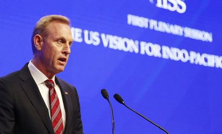 "Acting U.S. Secretary of Defense Patrick Shanahan delivers his speech entitled ""The U.S. Vision for Indo-Pacific Security"" at the 2019 IISS Shangri-la Dialogue in Singapore on June 1, 2019."