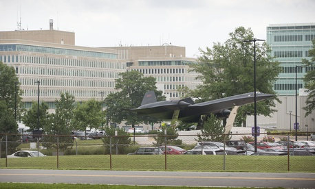 A Lockheed SR-71 Blackbird aircraft on display in the parking lot at Central Intelligence Agency (CIA) Headquarters in McLean, Va., Tuesday, July 15, 2014.