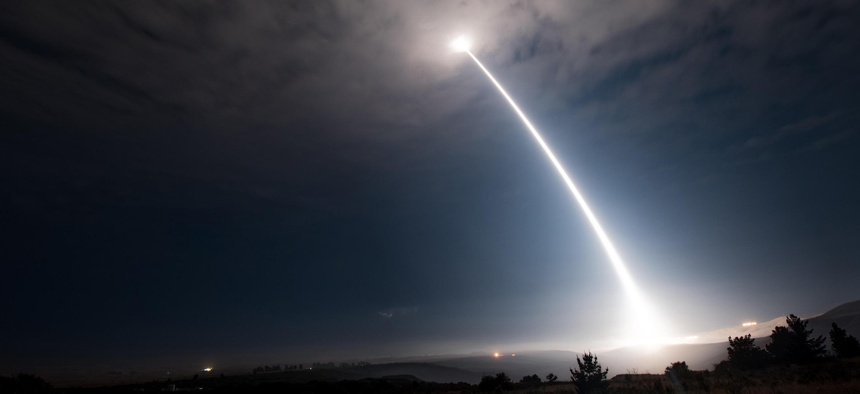 An unarmed Minuteman III intercontinental ballistic missile launches during an operational test at Vandenberg Air Force Base, Calif.