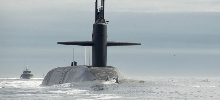 The Ohio-class ballistic missile submarine USS Tennessee (SSBN 734) returns to Naval Submarine Base Kings Bay.
