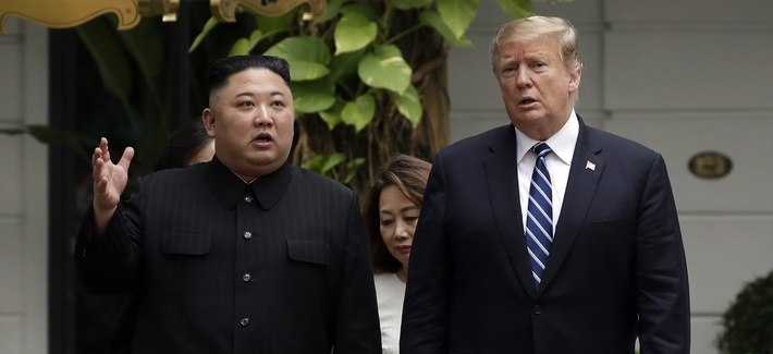 In this Feb. 28, 2019, file photo, U.S. President Donald Trump and North Korean leader Kim Jong Un take a walk after their first meeting at the Sofitel Legend Metropole Hanoi hotel in Hanoi, Vietnam.
