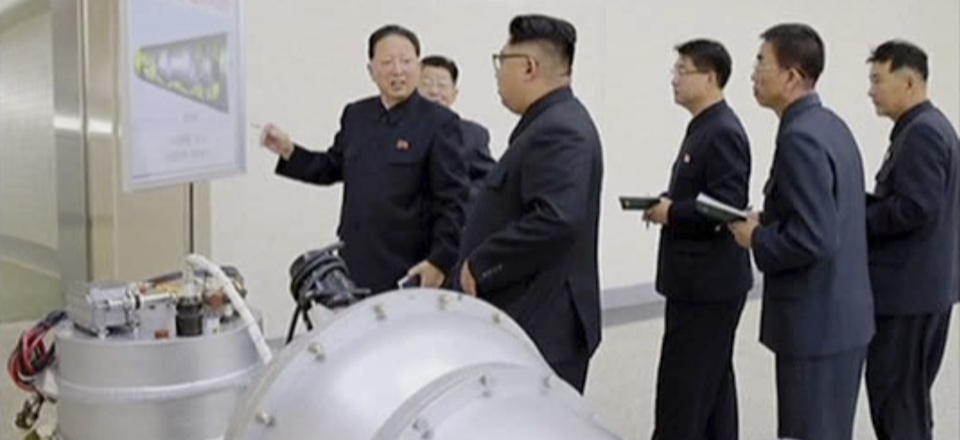 North Korea's state media on Sunday, Sept 3, 2017, said leader Kim Jong Un inspected the loading of a hydrogen bomb into a new intercontinental ballistic missile.