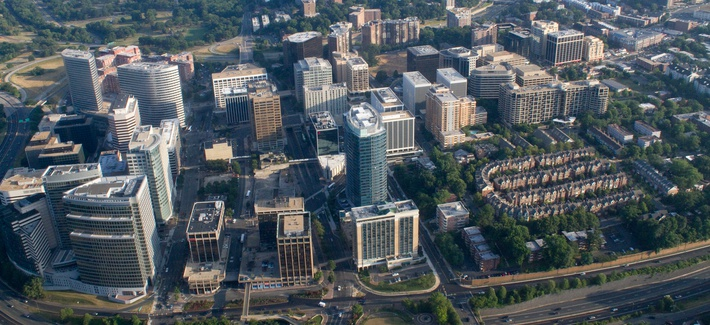 Aerial view of Rosslyn, Virginia.