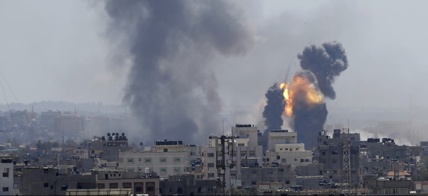Smoke rises from an explosion caused by an Israeli airstrike in Gaza City, Saturday, May 4, 2019.