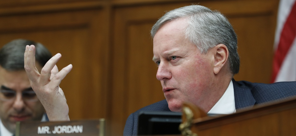Rep. Mark Meadows, R-N.C., asks a question during a House Oversight and Reform committee hearing on facial recognition technology in government, Tuesday June 4, 2019, on Capitol Hill in Washington.