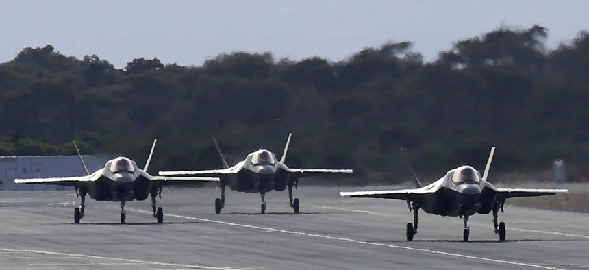 F-35B aircraft pass on a runway after landing at the Akrotiri Royal air forces base near city of Limassol, Cyprus, Tuesday, May 21, 2019.